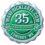 Green and silver foil scalloped edge anniversary seal label