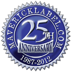 Blue and silver foil traditional anniversary seal label