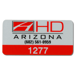 Red on silver polyester HD Arizona asset tag with numbering