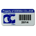 Reflex Blue on silver destructible vinyl Odessa College asset tag with barcode
