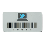Black on silver polyester asset tag with barcode