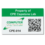 Green on white polyester CPE Capstone asset tag with QR barcode