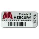 Burgundy on silver destructible vinyl Mercury Insurance Group asset tag with barcode