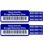 Reflex Blue on silver polyester IS Legal Discovery asset tracker with barcode