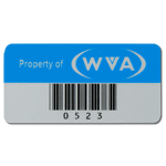 Olympic blue on silver polyester WVA asset tag with barcode