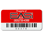 Red on white polyester EASi asset tag with barcode