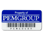 Reflex blue on white polyester PEMGROUP asset tag with barcode