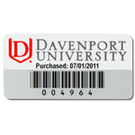 Red and white on silver polyester Davenport University asset tag with barcode