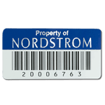 Blue on silver polyester Nordstrom asset tag with barcode