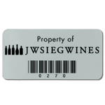 Black on silver polyester JW Sieg Wines asset tag with barcode