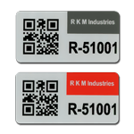 Two asset tags with 2d QR code and numbering with different header color