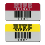 Two asset tags with human readable code 39 barcode with different header colors