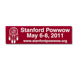 Red on white vinyl Stanford Powwow bumper sticker