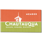 Green and orange on white vinyl Chautauqua bumper sticker