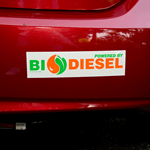 Green and orange on white vinyl BioDiesel bumper sticker on car