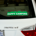 Green on white vinyl custom shape Happy Camping bumper sticker on car
