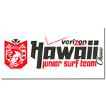 Black and red on white vinyl Verizon Hawaii Junior Surf Team bumper sticker