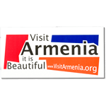 Multi-spot color on white vinyl Visit Armenia bumper sticker