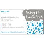 Blue and gray raincloud on white paper Rainy Day Productions business card sticker