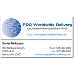 Blue circle graphic on white paper PDQ Worldwide Delivery business card sticker