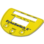 Yellow and blue EchoSwitch custom shape control panel with internal cutouts