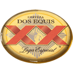 Black and red on gold oval Dos Equis domed label