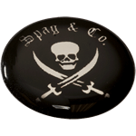 Black skull and swords on shiny silver circle Spag & Co domed label