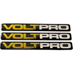 Black and yellow on shiny silver rectangle Volt Pro domed label