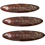 Brown tile photo on white oval Crossville domed label
