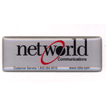 Black and red on shiny silver rectangle Networld Communications domed label