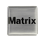 Black on brushed silver square Matrix domed label