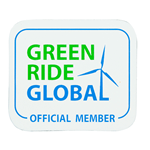 Green and blue wind turbine on white vinyl square Green Ride Global Official Member weatherproof label sample