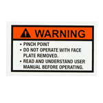 Orange and black Warning on white vinyl rectangle weatherproof label sample