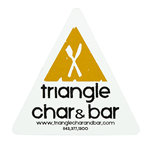 Yellow fork and knife blockout on white vinyl triangle for Triangle Char & Bar weatherproof label sample