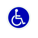 Blue wheelchair icon on white vinyl circle weatherproof label sample