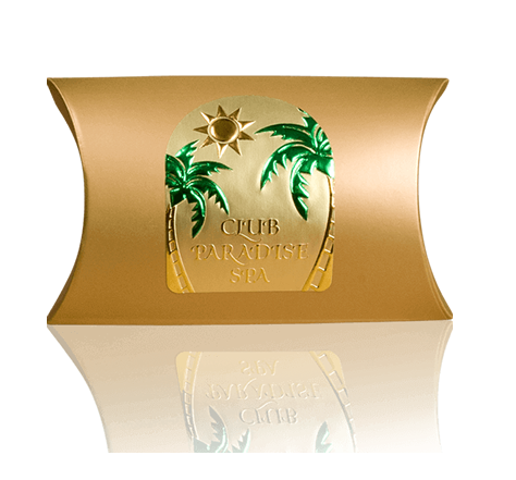 Custom shaped embossed label printed on gold material and green foil and copper foil