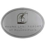 Metallic silver foil on dull silver oval Mauna Lani Resort foil label