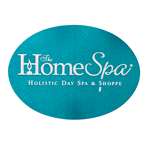 Metallic teal foil on white gloss paper oval The Home Spa foil label