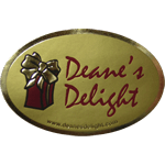 Metallic gold foil and red present on dull gold oval Deane's Delight foil label