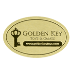 Metallic gold foil on dull gold oval Golden Key Toys and Games foil label