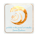 Metallic copper foil and process blue on white gloss square pebble in the pond art studio foil label