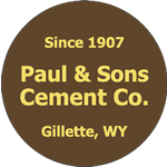 Brown on yellow vinyl circle Paul & Sons Cement Co. hard hat decal