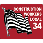 Red and black flag on white vinyl rectangle Local 34 hard hat decal