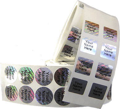 photo of rolls of circle and square hologram label with imprinting