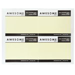 Yellow and black on white Awesome Inc. rectangle 4 per sheet custom laser inkjet labels