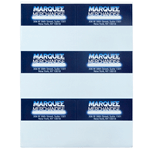 Dark blue and light blue logo and address Marquee Merchandise rectangle 6 per sheet custom laser inkjet labels