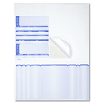 Blue ink on white Mail Order Manager packing slip custom integrated label
