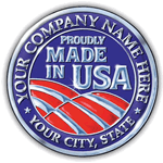 Red and blue flag circle sample Made In USA Sticker