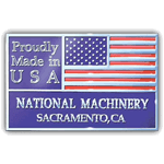Red and blue full flag on silver rectangle National Machinery Made In USA Sticker