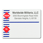 Red diamond and blue line design Worldwide Militaria mailing & shipping label sample